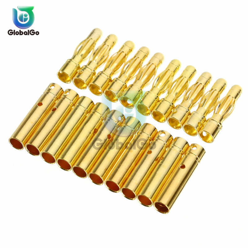 10pcs/Lot 3.5mm RC Battery Motor Gold-plated Bullet Banana Plug Male Female Bullet Banana Connector Diy Motor Plug Connector