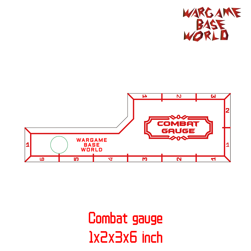 Wargame Base World - Combat Gauge - Measure Tooling - Battle Gauge -1x2x3x6 Inch