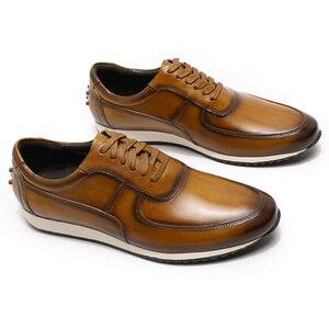Image 3 - גדול גודל 15 Mens סגנון נעליים יומיומיות אמיתי עור יד צבוע אוקספורד חום ירוק שרוכים אופנה רחוב תמונות גברים של דירות
