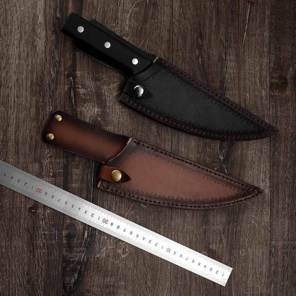 אריזת מתנה קמפינג סרבי שף זיוף סכין בעבודת יד מלא טאנג פרוס מטבח הקצב מוגן עור סכין מקרה כיסוי נדן