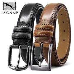 JACNAIP Men's Leather Belt Pin Buckle Belt Cowboy Adjustable Strap Luxury Leisure Metal Buckle Belts for Men belts male