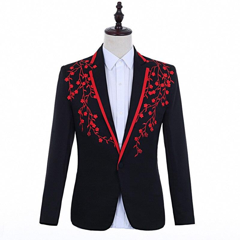 Black Red Embroidery Patch Blazer Men Slim Fit Wedding Stage Singer Coat Men Party Prom Blazer Homme Dinner Smoking Jacket