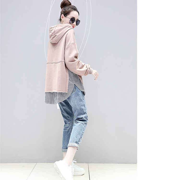 Tide Women Striped Patchwork Loose Sweatshirts Casual Fake Two Pieces Long Sleeve Pockets Hooded Hoodies