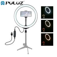 PULUZ 10 inch USB 3 Modes Dimmable LED Ring Vlogging Selfie Photography Video Lights & Cold Shoe Tripod Ball Head & Phone Clamp