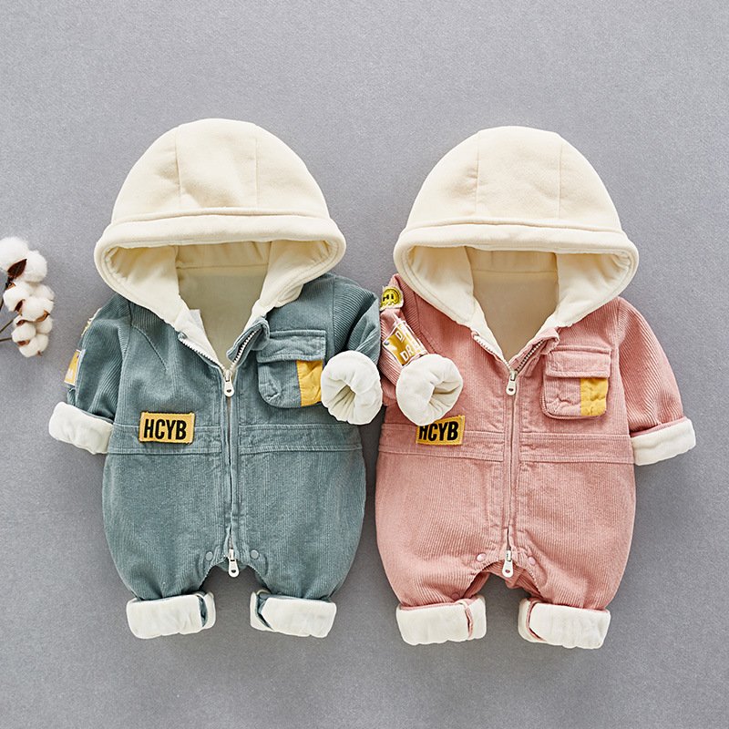 HYLKIDHUOSE 2019 Winter Toddler Infant Newborn   Rompers   Baby Girls Boys   Rompers   Warm Thickening Onesies Baby Kids Outdoor Clothes