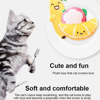 1pcs 4 Styles Fruit Series Cat Plush Toy Banana Modeling Puppet Cute Soft Dog Cat Self-hey Toy Puppy Training Toy Pet Supplies image