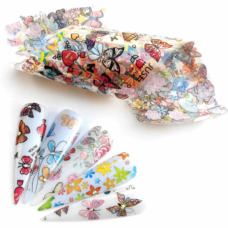 5 Pcs Butterfly Flower Nail Folies Set Kleurrijke Bloemen Transfer Sticker Sliders Decal Lijm Manicure Nail Art Decoratie Wrap