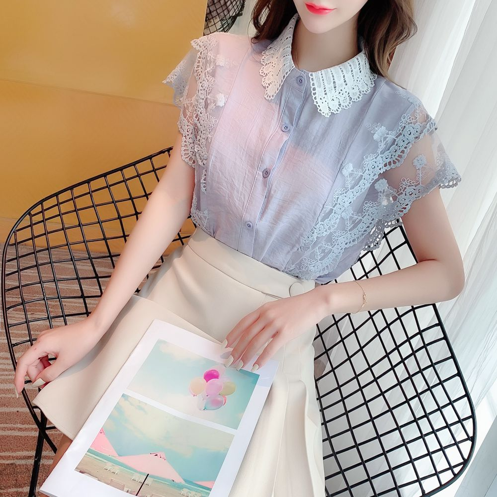 COIGARSAM Fashion Short Sleeve Shirt Womens Tops New Summer Chiffon Peter Pan Collar Women Shirts Blue Apricot 6162