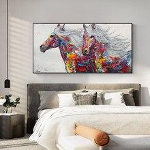 Abstracto moderno animais pintura a óleo sobre tela poster impressão arte da parede abstracto cavalos vermelhos imagens para sala de estar decoração casa