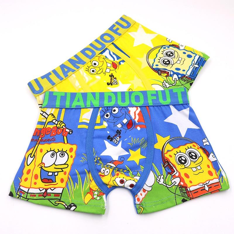 2pcs/set Cartoon Boys Underwear Soft Breathable Girls Panties Kid Boxer 3-11T Baby Panties Cartoon Sponge Panty Briefs Underpant