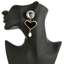 128 Hyperbole Black Heart Simulated Pearl Drop Earring For Women Boho Metal Dangle Wedding Party Valentine Gift Jewelry