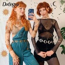 Darlingaga-Camiseta con estampado de Harajuku Luna para mujer, Top de malla, Tops cortos transparentes de manga larga, camisetas de moda de verano