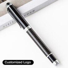 Ballpoint-Pen Office-Stationery-Supplies Customized-Logo Carbon-Fiber-Pattern Luxury