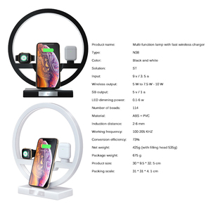Image 3 - 3 IN 1 QI Fast Wireless Charger Dock for iPhone 11 Pro Max for Apple Watch iWatch 1 2 3 4 5 Airpods Charger Holder LED Lamp 2019