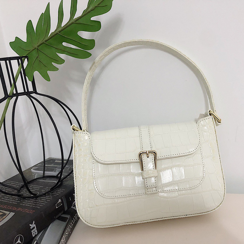Woman Trendy Green White Single Strap 2019 New Fashion Handbags PU Leather Zipper Shoulder Messenger Female Handbag