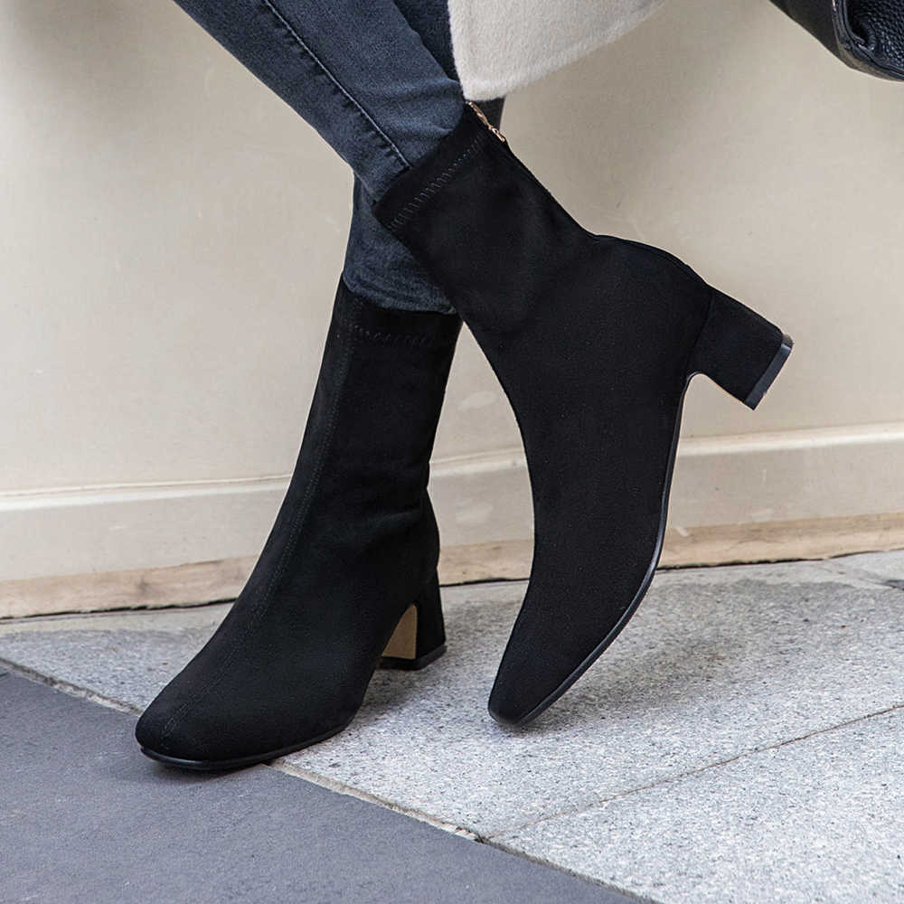 Plus Größe 34-43 Neue Mode Stiefeletten Elastische Socke Stiefel Chunky High Heels Stretch Frauen Herbst Sexy Booties frauen Pumpe Schuhe