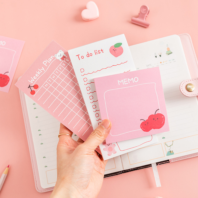 Kawaii Cute Fruit Bear Memo Pad Sticky Notes Stationery