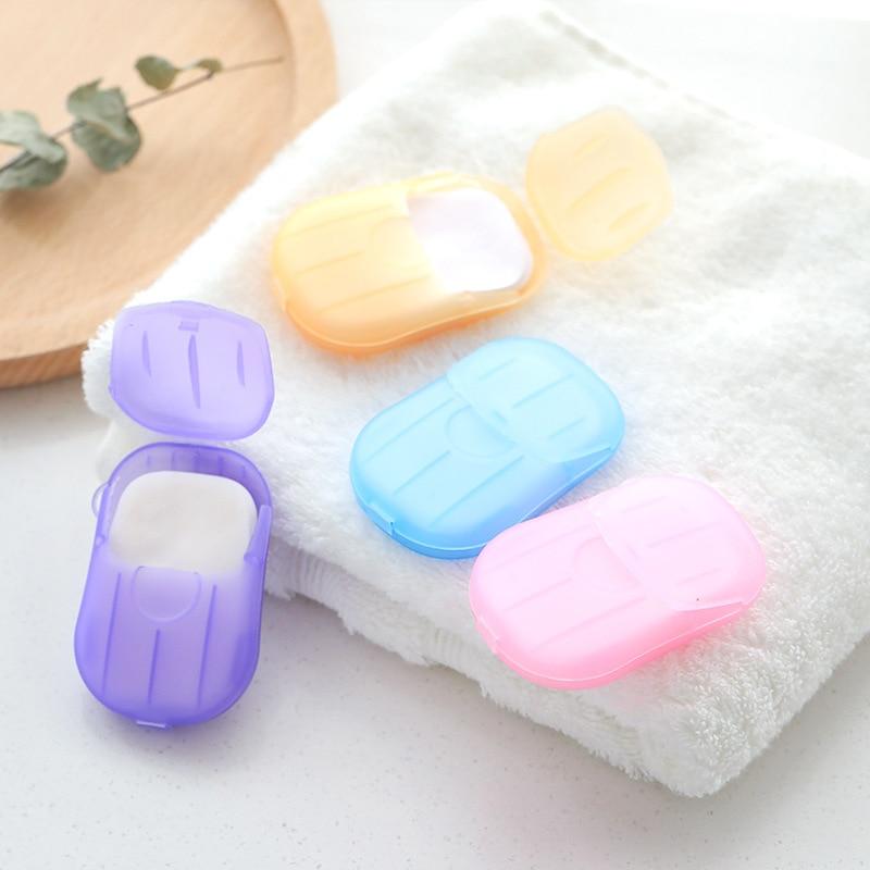 20 Pcs Random Color Travel Soap Paper Washing Hand Bath Clean Disposable Boxe Soap Portable Mini Paper Soap