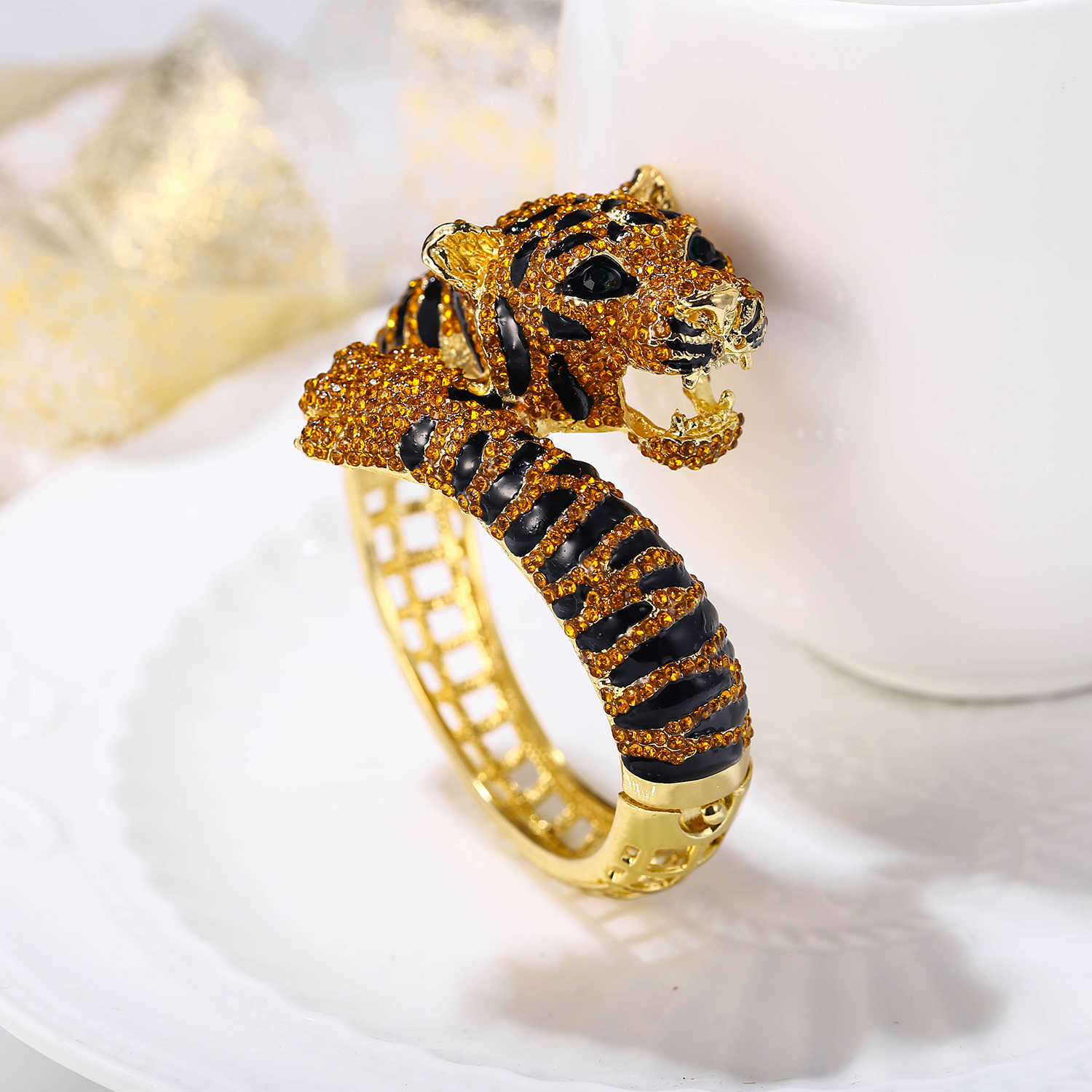 Tuliper браслет Bangle Bracelet For Women Tiger Animal Brown Enamel Crystal Bracelet Party Jewelry браслеты женские