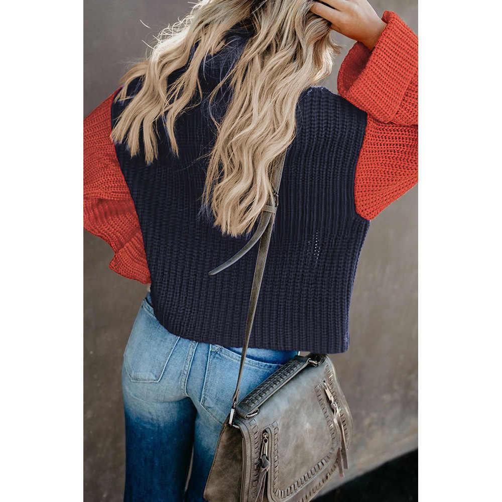 2020 새로운 HOTSALE 레이디 느슨한 가을 겨울 여성 특대 Chunky Batwing 긴 소매 터틀넥 컬러 블록 풀오버 니트 스웨터
