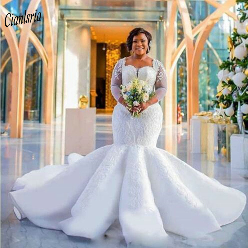 Luxury Lace Beading Plus Size Nigerian African Mermaid Wedding Dresses Three Quarter Sleeve Appliques Long Bridal Wedding Dress