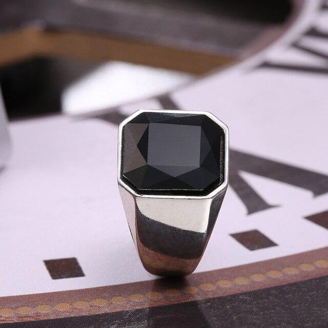 2020 grand noir Onyx pierre doigt pouce anneau pour hommes gemme-pierre véritable 316L titane acier inoxydable Punk Cool bijoux accessoires