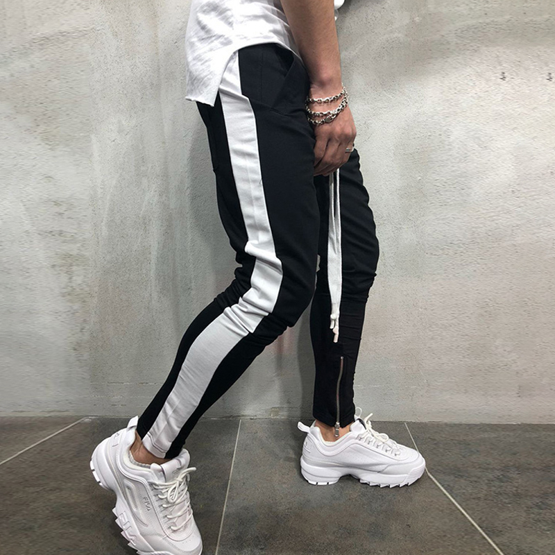 Men Joggers Pants Fitness Bodybuilding Gyms Joggers Casual Pants Men Streetwear Side Stripe Fashion Skinny Sweatpants Trousers
