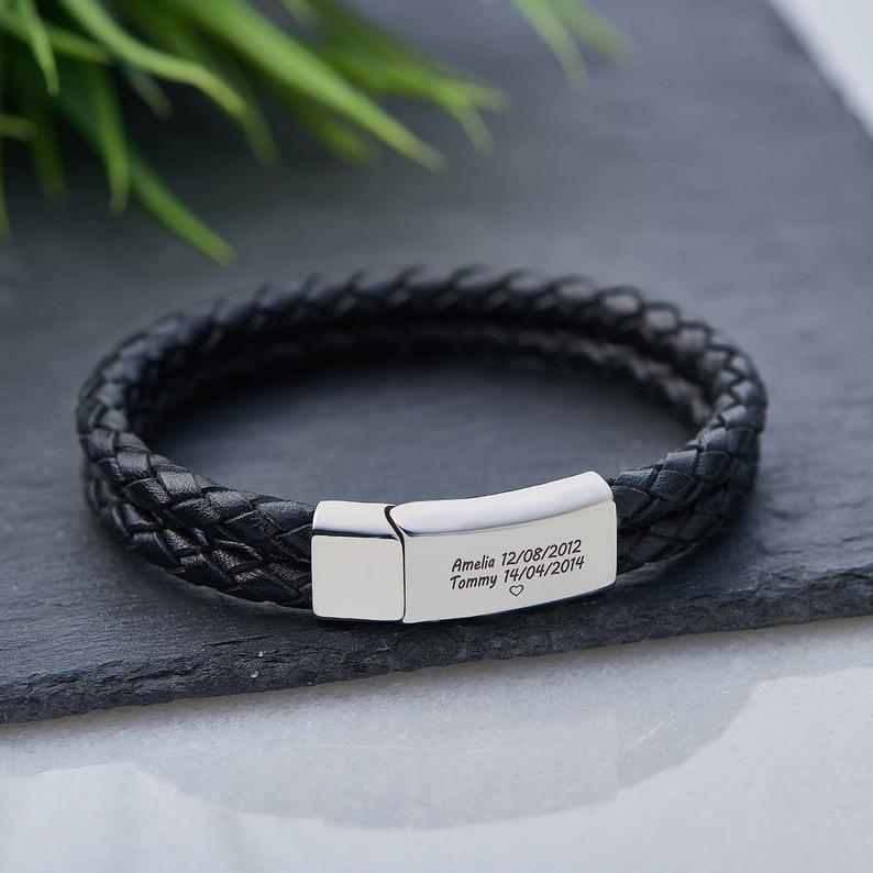 Personalized Men Braided Woven Genuine Leather Bracelet Stainless Steel Custom Engraved Name Date Charm Bracelet Birthday Gift