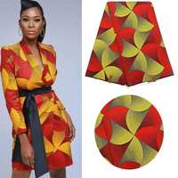 red and gold african fashion ankara wax fabric 6 yards /lot 100% cotton veritable wax fabric for women wedding party dress