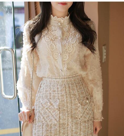 2020 Spring New Design Turtleneck Tops Women Blouses Long Sleeve Korean Style Temperament Office Lady Black Lace Vintage Shirt 2