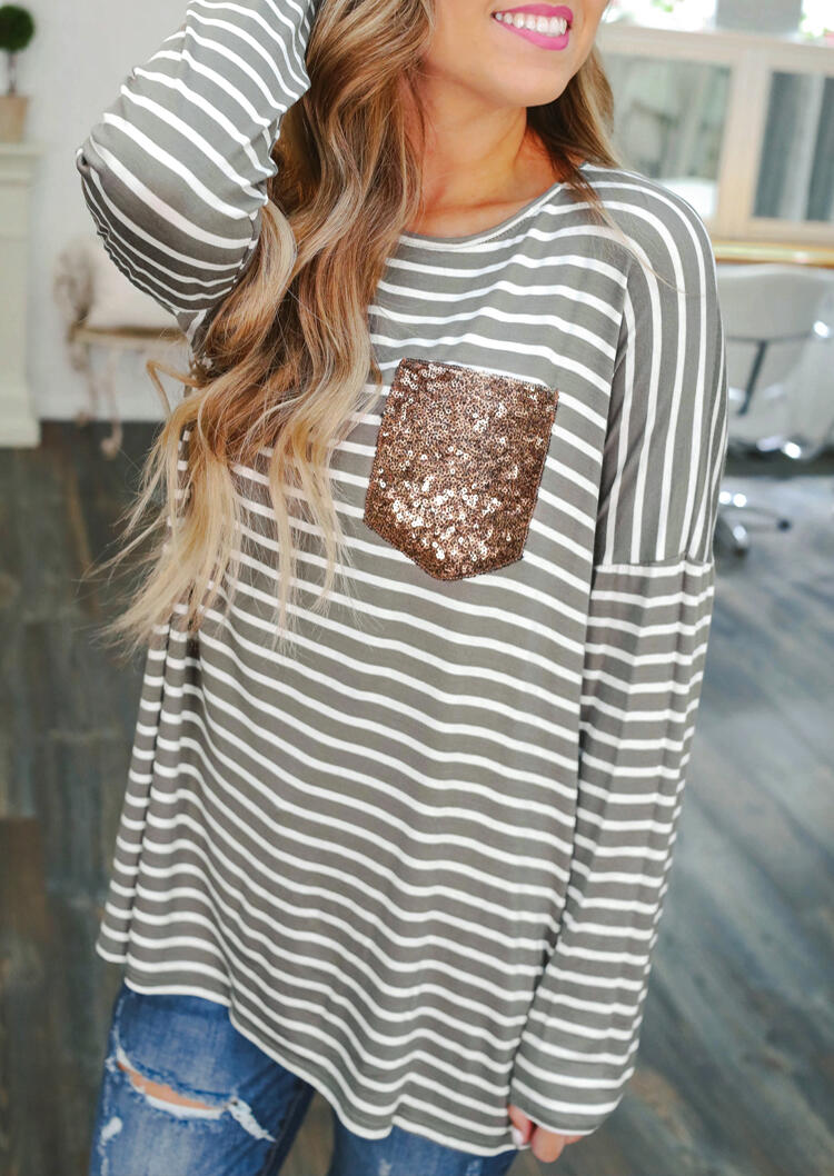Women Striped Sequined Pocket Full Long Sleeve T-Shirt Tee Spring Fall Femme Casual Harajuku Ulzzang Tank Ladies Korean Style