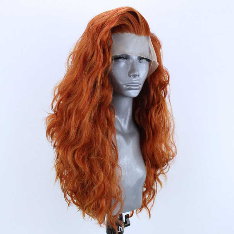Peluca de pelo sintético de fibra resistente al calor, peluca frontal de encaje para mujer, peluca de Cosplay de cuerpo largo con parte lateral carisma Orange