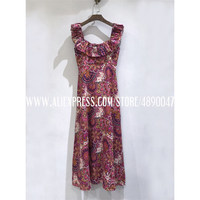 Linen printed vintage dress 2020 Women's new casual floral printed square collar dress suspenders Vacation style long dress