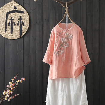 Women Chinese Tang Suit Top Traditional Style Female Tea Ceremony Linen Outfit Floral Embroidery Costumes Girls Blouses Shirts tanie i dobre opinie Pościel Tkane