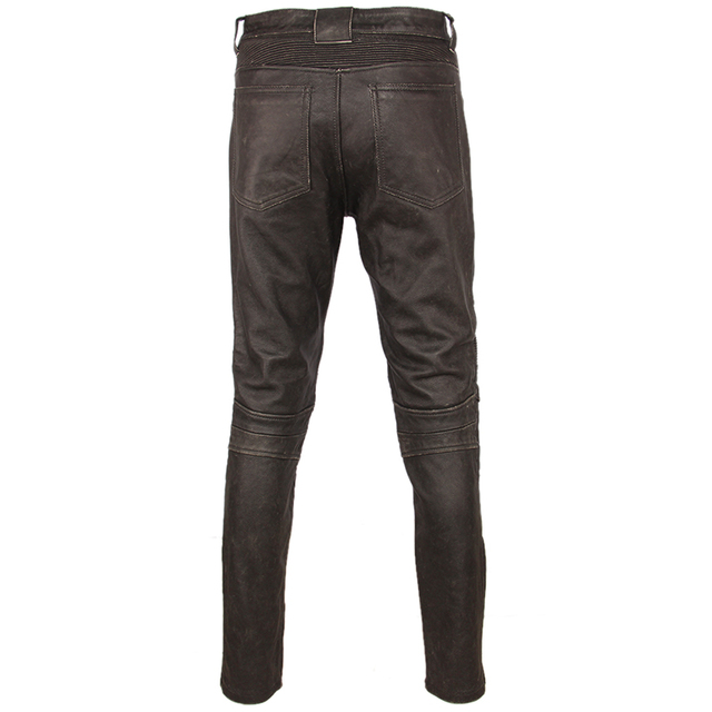 Fashion Vintage Black Men Leather Pant Thick 100% Natural Cowhide Motorcycle Biker Trousers Moto Pants Protector Available M350 3