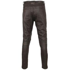 Image 3 - Pantalón de cuero negro Vintage para hombre, pantalón grueso para motorista, 100% Piel de vaca Natural, pantalones estilo motero Protector, M350