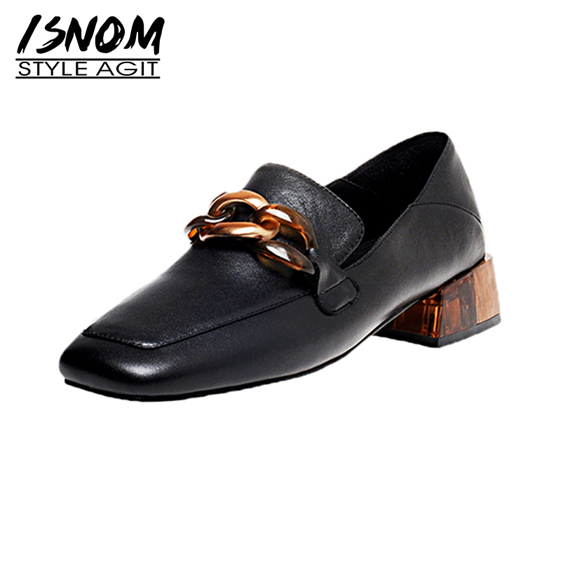 ISNOM Genuine Leather Shoes Woman Mules Chunky Heel Pumps Women Square Toe Loafers Vintage Ladies Shoes Casual Pumps