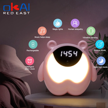 3 In 1 Night Light Alarm Clock Kids Children Sleep Bedside Alarm Clock Wake Up Temperature Snooze Timer Clock Christmas Gift