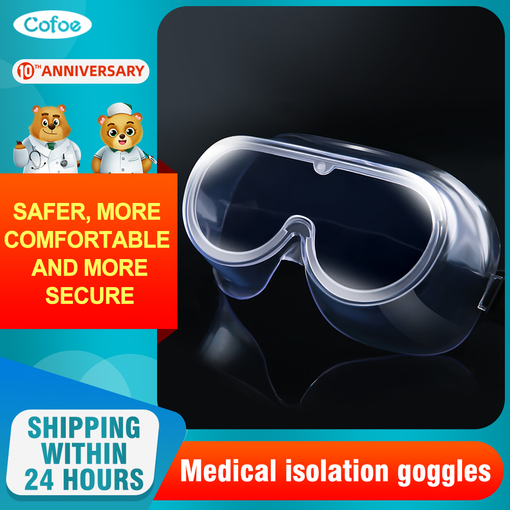 Cofoe Protective Safety Glasses Wide-angle Lens Disposable Vents Prevent Infection Eye Mask Medical Safety Goggles