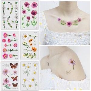 Временная тату-наклейка с розовыми ромашками, 1 шт., цветные цветы, подсолнечники, дизайн, поддельные татуировки, переводная вода для женщин, ...