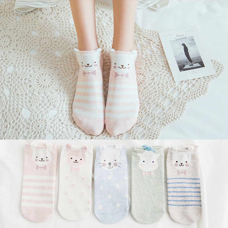 5Pairs new listing female models Japanese cute three-dimensional toque cat boat socks hair ear 35-40