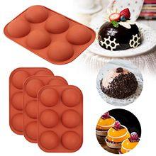 4 pces médio semi esfera molde de silicone, 4 pacotes molde de cozimento para fazer chocolate, bolo, geléia, cúpula m ^ ousse