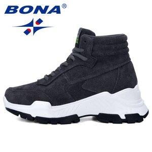 Image 4 - BONA 2019 nowi projektanci zamszowe trampki platforma ciepłe pluszowe buty zimowe damskie klinowe wysokie góry rekreacyjne buty damskie wygodne
