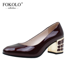 FOKOLO Pumps for Mature Women New Summer Round Toe Square Heel Patent Leather High Heels Quality Handmade Ladies Shoes GC7