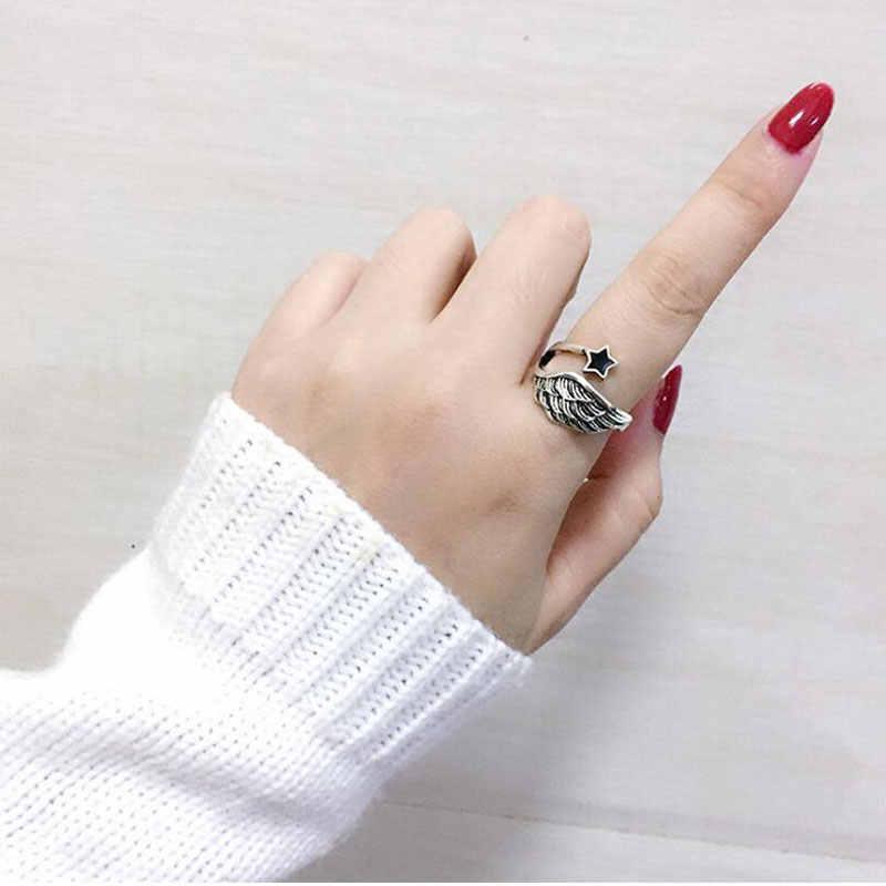 שכבה כפולה מלאך כנף פתוח טבעת עם שחור כוכב 925 סטרלינג תכשיטי כסף עבור נשים גברים אופנה מתנות S-R285