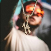 D&Z Street Style Full Cubic Zircon Official Iced 14 Arrow Necklaces Pendants For Male Hip Hop Rock Jewelry