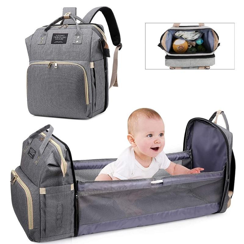 Bag Multifunctional Folding Baby Mommy Travel Backpack Portable Large Capacity Nappy Maternity Bag 2021