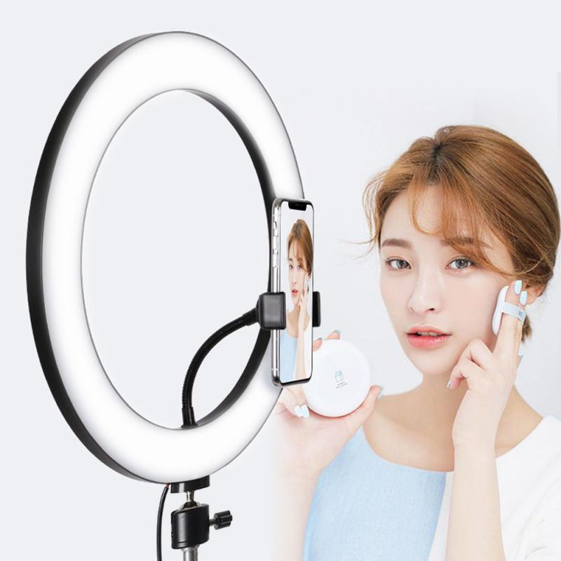 Dimmable LED Selfie Ring Light 3300-5500K Studio Photography Photo Fill Ring Light  For Iphone Smartphone Canon Makeup