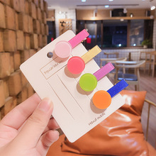 1Pcs New Korean Children Beautiful Colorful Geometry Acrylic Duckbill Clip for Girl Princess Fashion Hairpins Hair Accessories