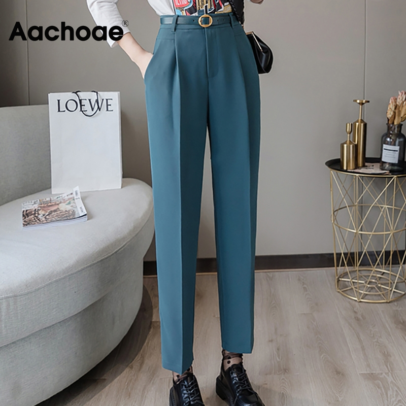 Aachoae Office Suit Pants Women High Waist Chic Pleated Trousers Female Solid Color Casual Long Pants With Belt Pantalones Mujer